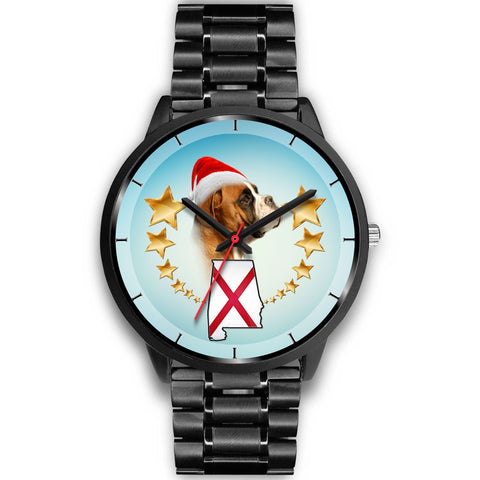 Boxer Dog On Christmas Alabama Wrist Watch-Free Shipping