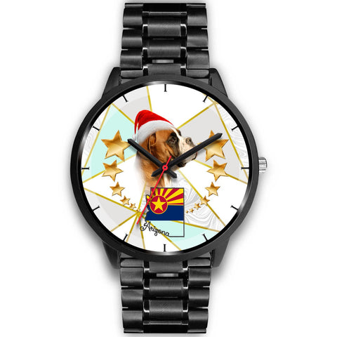 Boxer Dog On Christmas Arizona Wrist Watch-Free Shipping