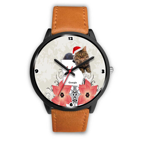 Maine Coon Cat Georgia Christmas Special Wrist Watch-Free Shipping