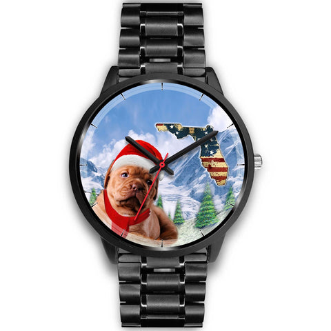Bordeaux Mastiff Florida Christmas Special Wrist Watch-Free Shipping