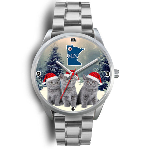 Russian Blue Cat Minnesota Christmas Special Wrist Watch-Free Shipping