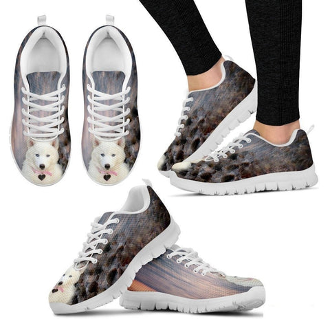 White Husky Dog Print Running Shoe For Women- Free Shipping-Paww-Printz-Merchandise