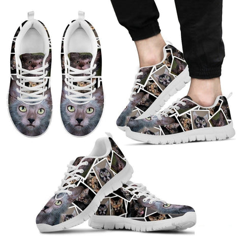 Lykoi Cat Print (White/Black) Running Shoes For Men-Free Shipping-Paww-Printz-Merchandise