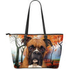 Boxer Dog-Large Leather Tote Bag-Free Shipping-Paww-Printz-Merchandise