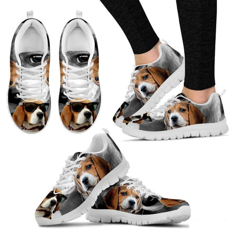 Beagle Dog With Glasses Print Running Shoe (Women)- Free Shipping-Paww-Printz-Merchandise