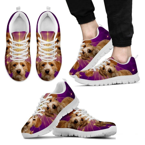 Basset Fauve de Bretagne Dog (White/Black) Running Shoes For Men-Free Shipping-Paww-Printz-Merchandise