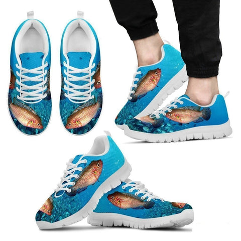 Jewel Cichlid Fish Print Running Shoes For Men-Free Shipping Limited Edition-Paww-Printz-Merchandise