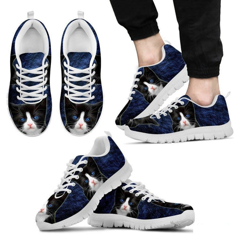 Ojos Azules Cat (Black/White) Running Shoes For Men-Free Shipping Limited Edition-Paww-Printz-Merchandise