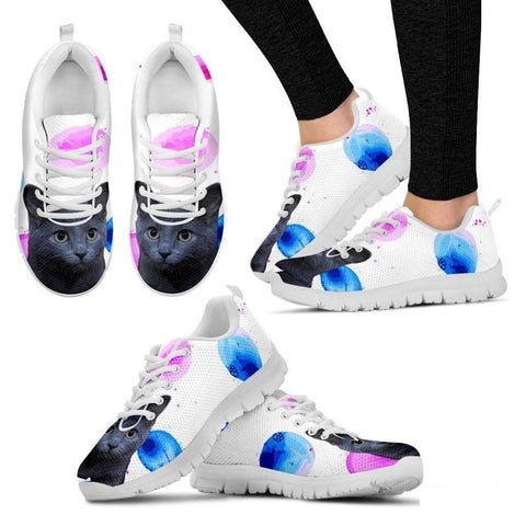 Russian Blue Cat Print (White/Black) Running Shoes For Women-Free Shipping-Paww-Printz-Merchandise