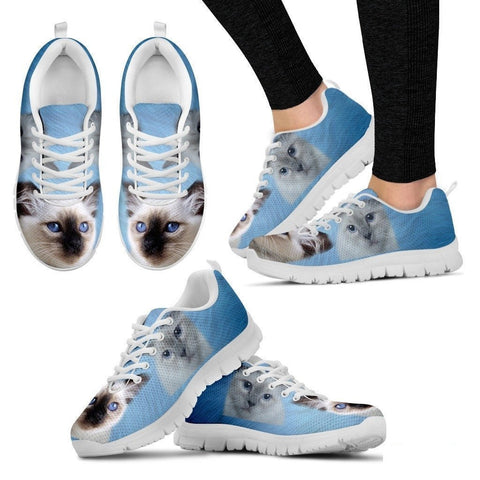 Cute Birman Cat Print Sneakers For Women(White/Black)- Free Shipping-Paww-Printz-Merchandise