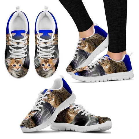 Serengeti Cat Print (White/Black) Running Shoes For Women-Free Shipping-Paww-Printz-Merchandise