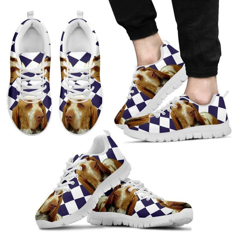 Bracco Italiano Dog (White/Black) Running Shoes For Men-Free Shipping-Paww-Printz-Merchandise