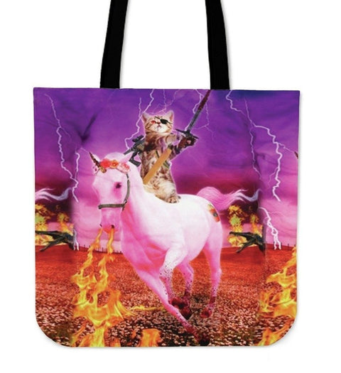 Horse Riding Cat-Tote Bag-Free Shipping-Paww-Printz-Merchandise