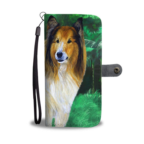 Amazing Rough Collie Dog Print Wallet Case-Free Shipping