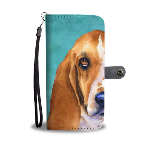 Amazing Basset Hound Dog Print Wallet Case-Free Shipping