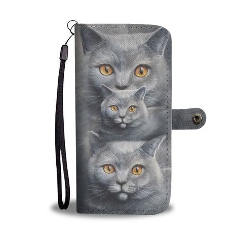 Russian Blue Cat 3D Print Wallet Case-Free Shipping