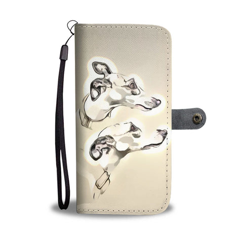 Hand Crafted Whippet dog Print Wallet Case-Free Shipping