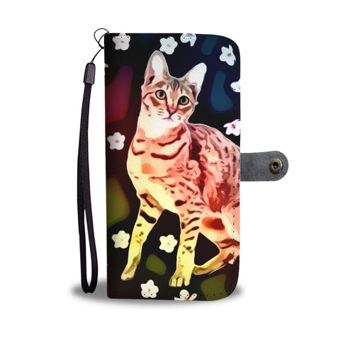 Cute Savannah Cat Print Wallet Case-Free Shipping