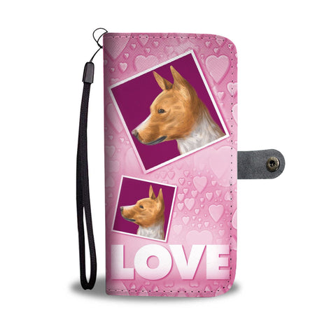 Basenji Dog with Love Print Wallet Case-Free Shipping