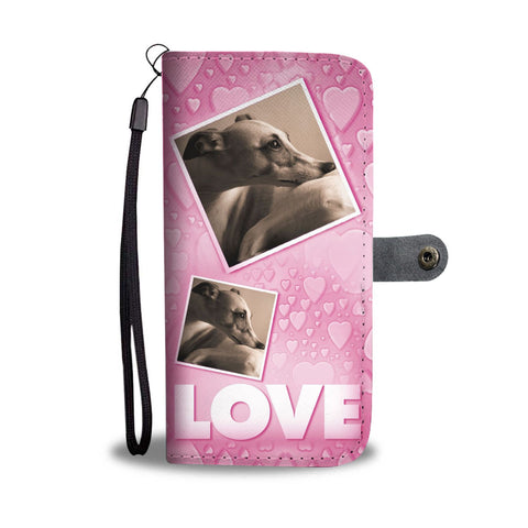 Whippet Dog with Love Print Wallet Case-Free Shipping