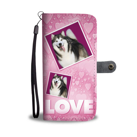 Alaskan Malamute dog with Love Print Wallet Case-Free Shipping