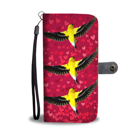 American GoldFinch Bird On Red Print Wallet Case-Free Shipping
