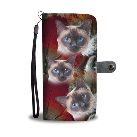 Cute Siamese Cat Print Wallet Case- Free Shipping