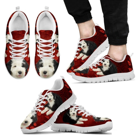 Old English Sheepdog Print Sneakers For Men(White)- Free Shipping-Paww-Printz-Merchandise