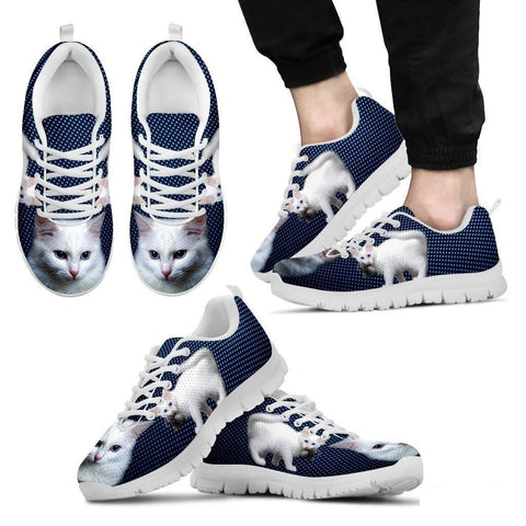 White Turkish Angora Cat Print Sneakers For Men (White/Black)- Free Shipping-Paww-Printz-Merchandise