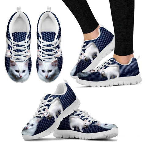 White Turkish Angora Cat Print Sneakers For Women (White/Black)- Free Shipping-Paww-Printz-Merchandise