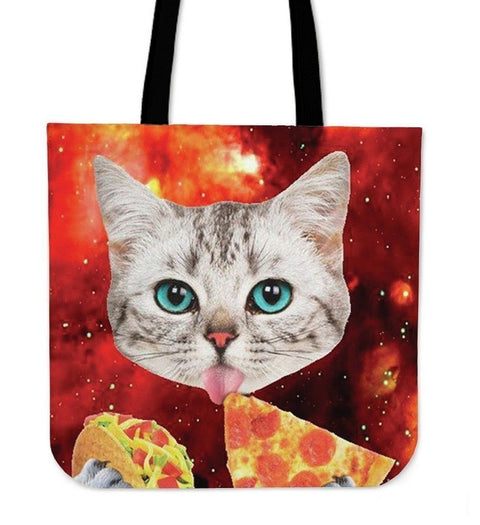 Cat Eat Pizza High Quality Tote Bag-3D Print-Free Shipping-Paww-Printz-Merchandise
