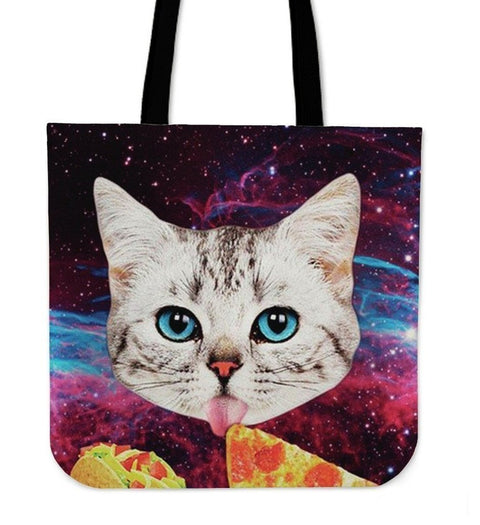 Cat Eat Pizza Tote Bag-3D Print-Free Shipping-Paww-Printz-Merchandise