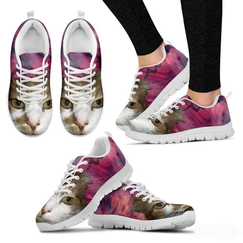 Cat Print Pink Running Shoe (Women)- Free Shipping-Paww-Printz-Merchandise