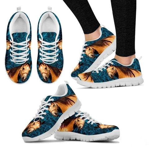 Quarter Horse Print (White/Black) Running Shoes For Women-Free Shipping-Paww-Printz-Merchandise