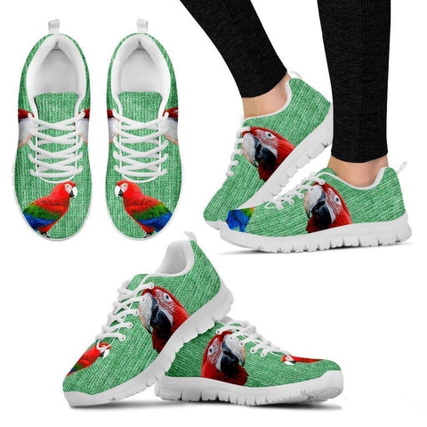 Red And Green Macaw Parrot Running Shoes For Women-Free Shipping-Paww-Printz-Merchandise