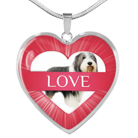 Bearded Collie Print Heart Pendant Luxury Necklace-Free Shipping