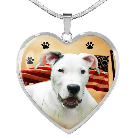 Dogo Argentino Print Heart Pendant Luxury Necklace-Free Shipping