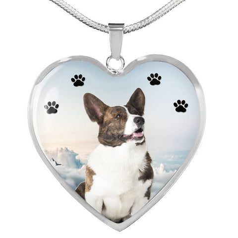 Cardigan Welsh Corgi Print Heart Pendant Luxury Necklace-Free Shipping