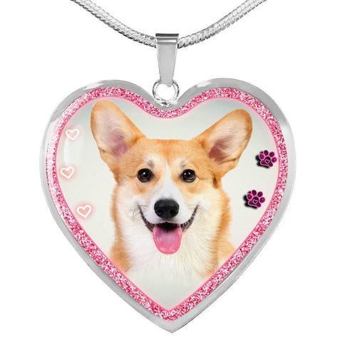 Pembroke Welsh Corgi Dog Print Heart Charm Necklaces-Free Shipping