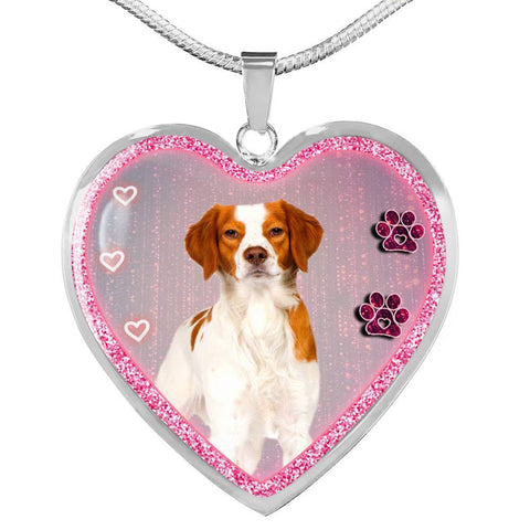 Brittany Dog Print Heart Charm Necklaces-Free Shipping