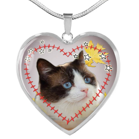 Lovely Snowshoe Cat Print Heart Pendant Luxury Necklace-Free Shipping