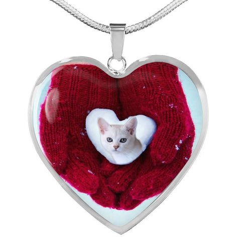 Lovely Burmilla Cat Print Heart Pendant Luxury Necklace-Free Shipping