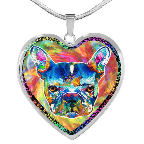 Colorful French Bulldog Print Heart Charm Necklaces-Free Shipping