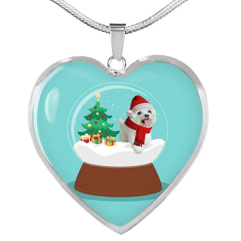 Maltese Dog Print Heart Pendant Christmas Special Luxury Necklace-Free Shipping