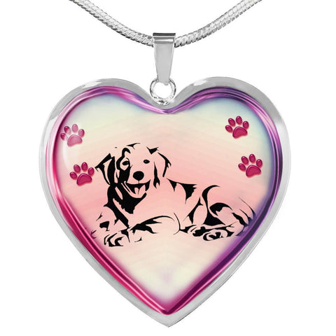 Golden Retriever Dog Print Heart Charm Necklaces-Free Shipping