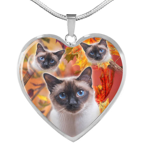 Siamese Cat Print Heart Pendant Luxury Necklace-Free Shipping