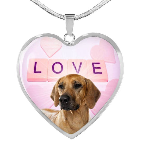 Cute Rhodesian Ridgeback Dog Print Heart Pendant Luxury Necklace-Free Shipping