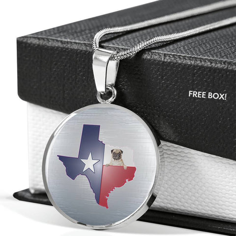 Pug Dog Texas Print Circle Pendant Luxury Necklace-Free Shipping