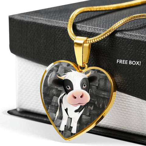 Cow Print Heart Pendant Luxury Necklace-Free Shipping