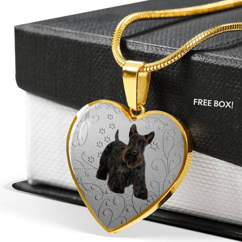 Scottish Terrier Print Heart Pendant Luxury Necklace-Free Shipping